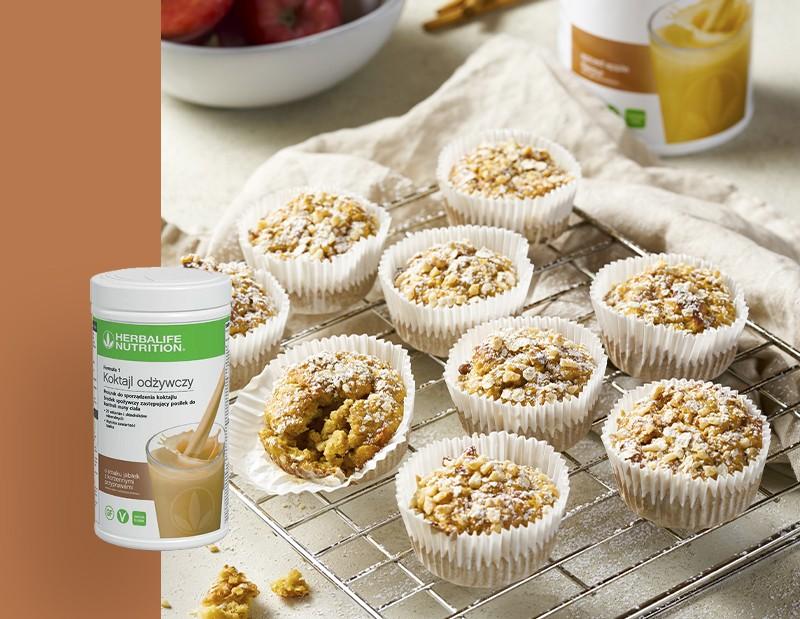 Proteinowe muffinki o smaku jabłek z korzennymi przyprawami